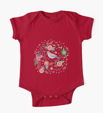 Beautiful bird in flowers One Piece - Short Sleeve