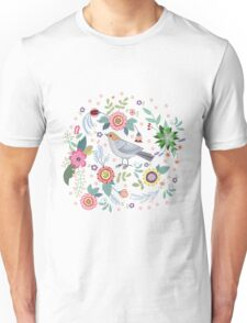 Beautiful bird in flowers Unisex T-Shirt
