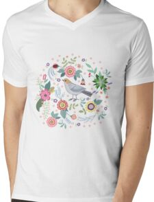 Beautiful bird in flowers Mens V-Neck T-Shirt