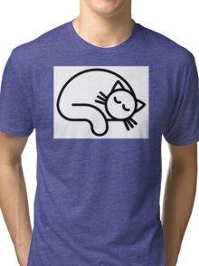 Sleeping white cat Tri-blend T-Shirt