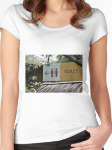 saung angklung udjo toilet sign Women's Fitted Scoop T-Shirt