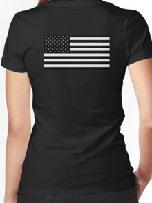 American Flag, STARS & STRIPES, USA, America, Americana, Funeral, Mourning, in Mourning, Black on Black Women's Fitted V-Neck T-Shirt