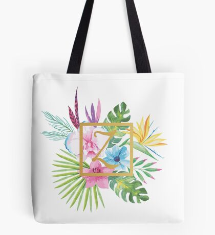 Tropical Floral With Gold Initial Z Tote Bag
