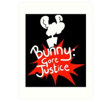 Bunny: Gore Justice - Splatter Design With Silhouette (White) Art Print