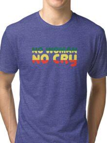 No Woman No Cry Bob Marley Lyrics Peace Love Tri-blend T-Shirt