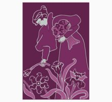 Lady with flowers modern art nouveau purple Kids Tee