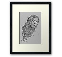Patience digital illustration of a young girl Framed Print