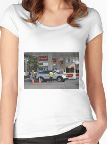 shell gas station Women's Fitted Scoop T-Shirt