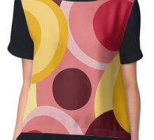 Retro big modern colorful circles red yellow pink pattern Chiffon Top
