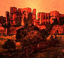 A digital painting of Kenilworth Castle, England 1890. by Dennis Melling