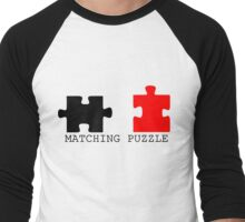 Puzzle Piece Matching Black and Red Sarcastic Men's Baseball ¾ T-Shirt