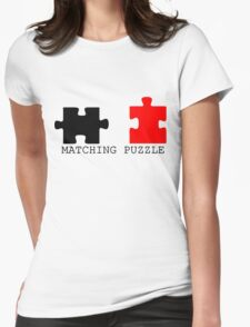 Puzzle Piece Matching Black and Red Sarcastic Womens Fitted T-Shirt