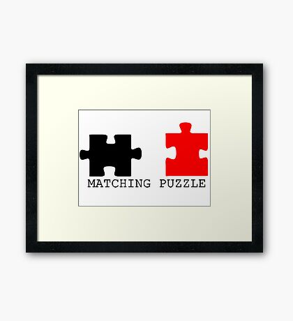Puzzle Piece Matching Black and Red Sarcastic Framed Print