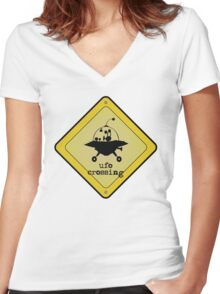 UFO crossing sign Women's Fitted V-Neck T-Shirt