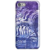 Blue Fish - Collaged Abstract Fish Lino Print   iPhone Case/Skin