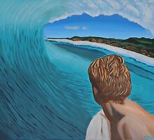 Surfer in the Tube by Jenny  Dyer