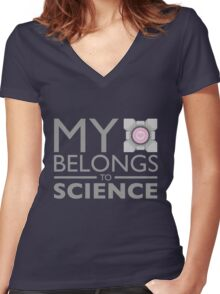 My Heart Belongs to Science ~ Companion Cube Women's Fitted V-Neck T-Shirt