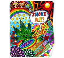 Smoke Me Cartoon Leaf Poster