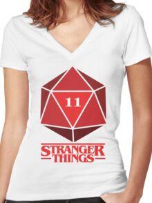Stranger Things Dice Eleven Women's Fitted V-Neck T-Shirt