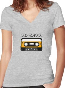 Old School Music Tape Compact Cassette Women's Fitted V-Neck T-Shirt