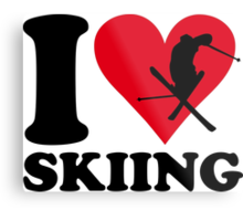 I love skiing Metal Print
