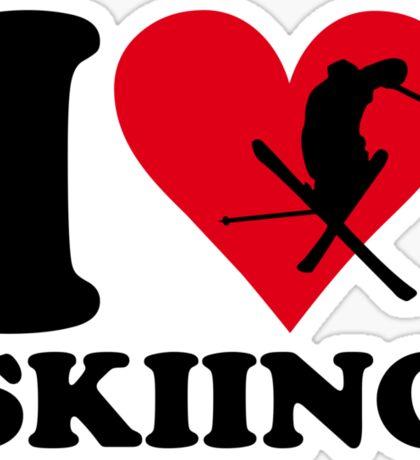I love skiing Sticker