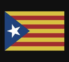 Estelada Flag, Catalan, Spain Spanish, Blue Estelada, Senyera Estelada, Starred flag, Lone Star flag, ON BLACK Kids Tee