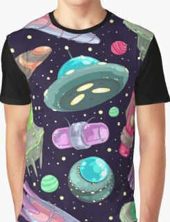 Galactic UFO Outer Space Pattern Graphic T-Shirt