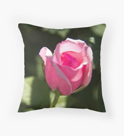 Pink Rose Bud Throw Pillow