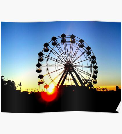 Ferris wheel at sunset Poster