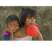 Nepali little brother and sister Photographic Print
