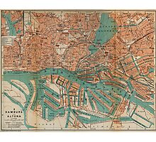 Vintage Map of Hamburg Germany (1910) 2 Photographic Print