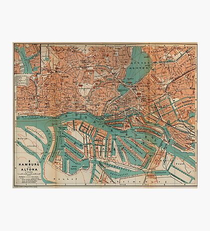 Vintage Map of Hamburg Germany (1910) 2 Photographic Print