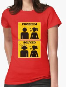 PROBLEM SOLVED. Bla Bla Bla. Listen Music on Your Headphone Womens Fitted T-Shirt