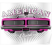 CLASSIC DODGE CHARGER MOPAR MUSCLE CAR   PINK Poster