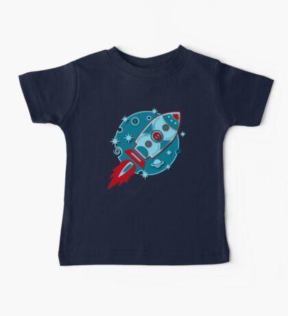 Retro rocket, planet, space, galaxy, science fiction, stars Baby Tee