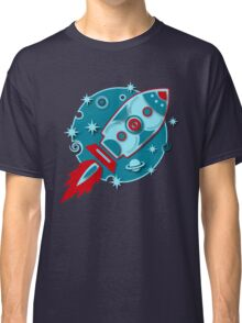 Retro rocket, planet, space, galaxy, science fiction, stars Classic T-Shirt