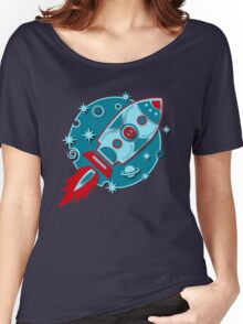 Retro rocket, planet, space, galaxy, science fiction, stars Women's Relaxed Fit T-Shirt