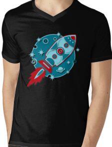 Retro rocket, planet, space, galaxy, science fiction, stars Mens V-Neck T-Shirt