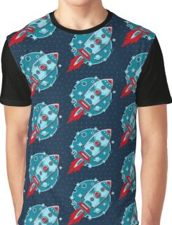 Retro rocket, planet, space, galaxy, science fiction, stars Graphic T-Shirt
