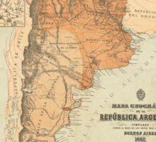 Vintage Map of Argentina (1882) Sticker