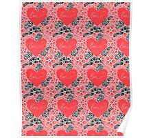 Pattern of flowers and hearts Poster