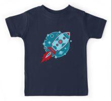 Retro rocket, planet, space, galaxy, science fiction, stars Kids Tee