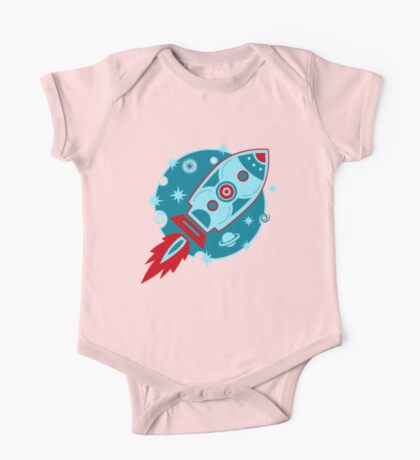 Retro rocket, planet, space, galaxy, science fiction, stars One Piece - Short Sleeve