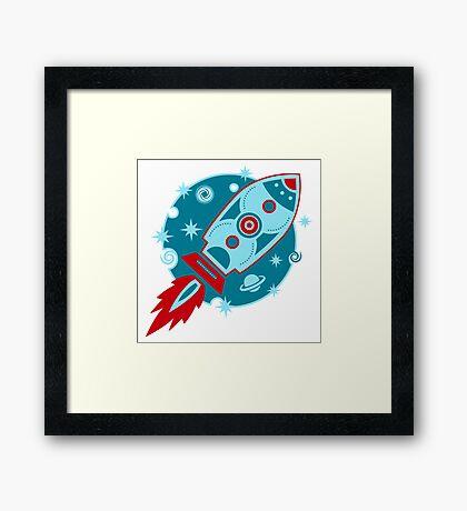 Retro rocket, planet, space, galaxy, science fiction, stars Framed Print