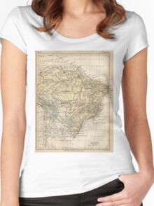 Vintage Map of Brazil (1889) Women's Fitted Scoop T-Shirt