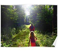Morning Hike through the Woods Poster