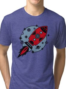 Retro rocket, planet, space, galaxy, science fiction, stars Tri-blend T-Shirt