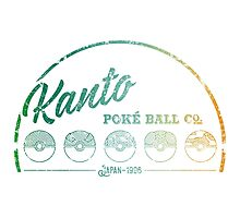 Green Kanto Poké Ball Company on White Photographic Print