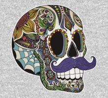 Mustache Sugar Skull (Color Version) One Piece - Short Sleeve